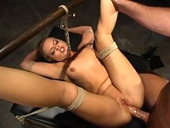 Sarah Sunn, is tied down, gagged and forced to take master's cock