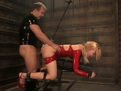 Sexy blonde Annette Schwarz in latex bondage and sex