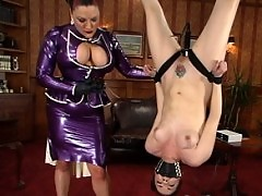 Dana DeArmond is dressed in latex, bound, and fucked with machine