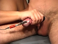 Nurse Jasmine floggs and electrocutes her patient's cock