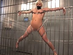 Feisty blonde is tied gagged and dunked