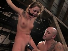 Sexy girl fucked in bondage and squirts!