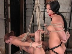 Two hot friends, bound and forced to sex each other.